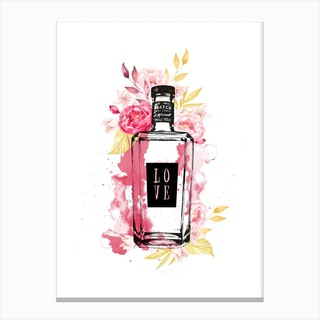 Pink Flowers Gin Bottle Canvas Print