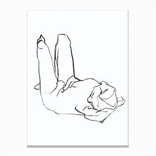 Figure Drawing Woman Laying Canvas Print