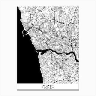 Porto White Black Canvas Print