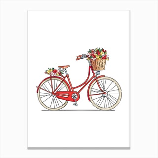 Flower Bike Canvas Print