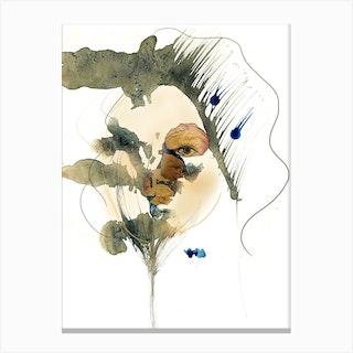 Woman Behind Roses Canvas Print