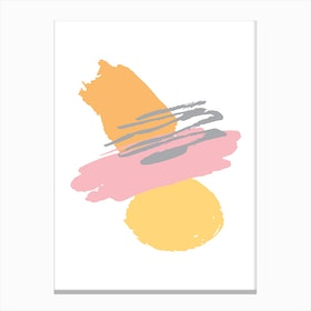 Pink and Orange Abstract Paint Shapes Canvas Print