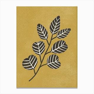 Eucalyptus Branch Ochre Canvas Print