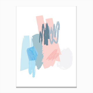 Abstract Pink and Blue Scribbles Canvas Print