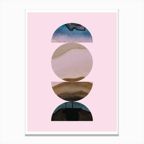 Half Circles Pink Background Abstract Canvas Print