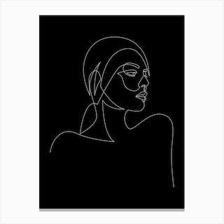 Liny Black Canvas Print