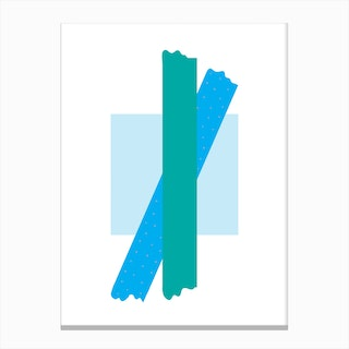 Teal Cross Over Blue Box Abstract Canvas Print