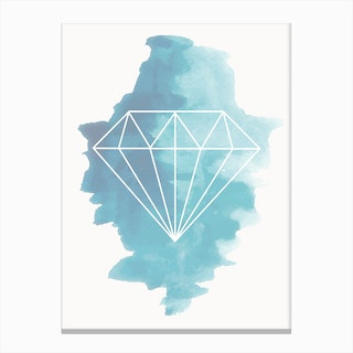 Watercolour Blue Diamond Canvas Print