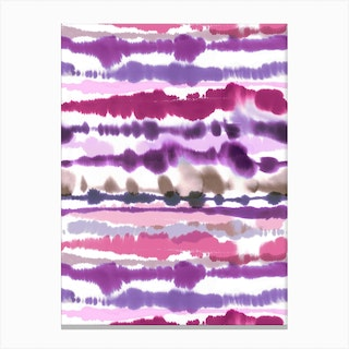 Soft Nautical Watercolor Lines Pink Canvas Print