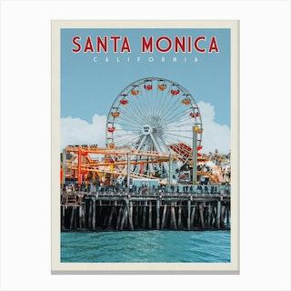 Santa Monica Pier California Travel Poster Canvas Print