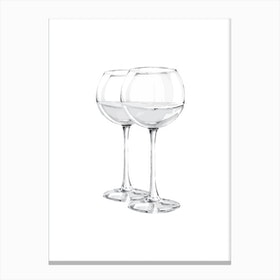 Grey Wine Glasses Canvas Print