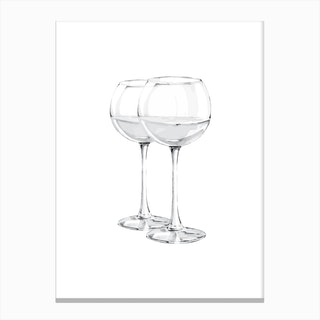 Grey Wine Glasses Canvas Print