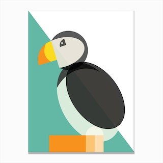 Geometric Puffin Canvas Print