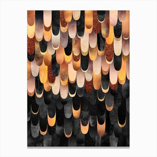 Feathered in Copper & Black Canvas Print