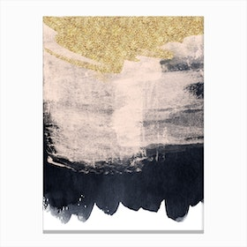 Gold Baby Pink And Dark Blue Paint Strokes Canvas Print