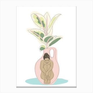 Vase With Rubber Plant Canvas Print