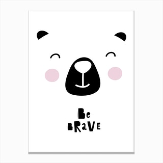 Scandi Be Brave Bear Face Canvas Print