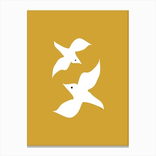 Love Birds in Mustard Canvas Print