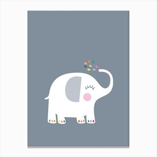 Rainbow Grey Elephant Canvas Print