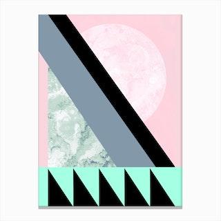Turquoise Pink Geometric Canvas Print