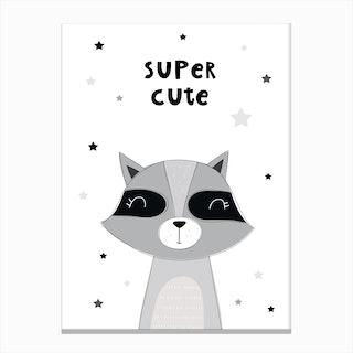 Scandi Super Cute Raccoon Canvas Print