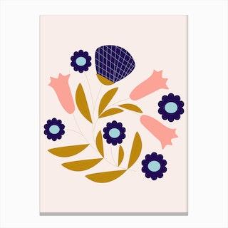 Dark Blue And Pink Retro Flower Composition Canvas Print