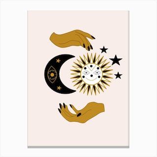 Hands Sun Moon And Stars Canvas Print