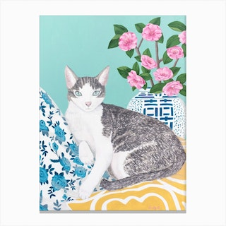 Cat With s And Chinoiserie Vase Canvas Print
