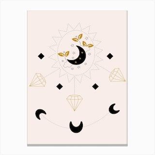 Diamonds And Moon Canvas Print