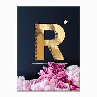 Flower Alphabet R Canvas Print