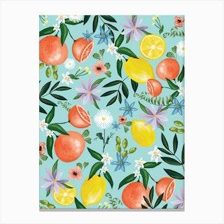 Orange And Lime Blossom Canvas Print