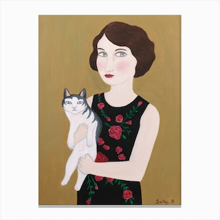 Woman In Rose Dress With Cat Canvas Print