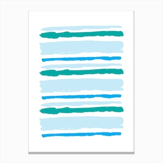 Teal and Blue Abstract Stripes Canvas Print