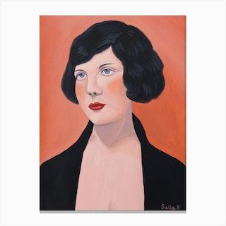 Flapper Woman With Black Jacket Canvas Print