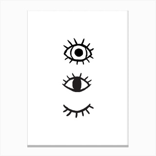 3 Eyes White Canvas Print