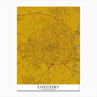 Coventry Yellow Blue Map Canvas Print