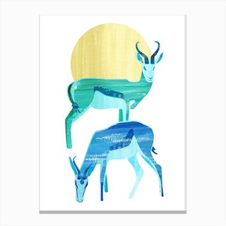 Antilopes in the Sun Canvas Print