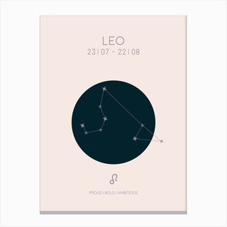 Leo Star Sign In Light Canvas Print