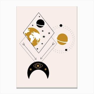 Geometrics And Celestial Elements Illustration Canvas Print