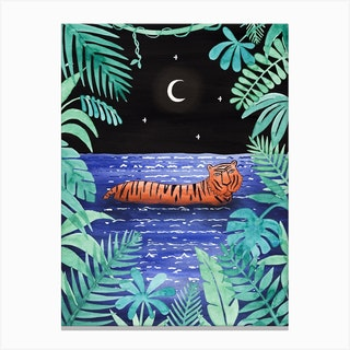 Tiger Bathing Canvas Print
