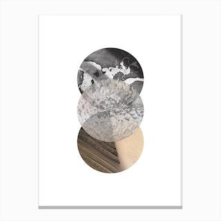 Three Sand Glass & Black Marble Circle Abstract Canvas Print