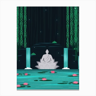 Buddha In A Lily Pond Canvas Print
