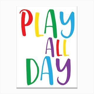 Play All Day Rainbow Canvas Print