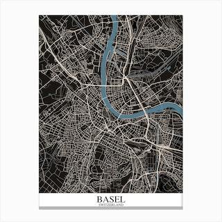 Basel Black Blue Canvas Print