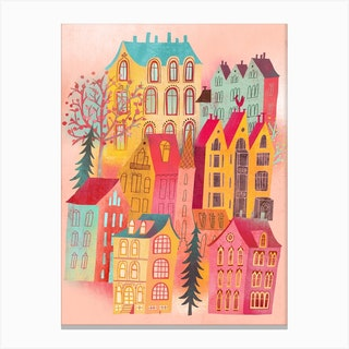 Lovely Pink Village Canvas Print