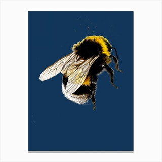 The Bee Blue Canvas Print
