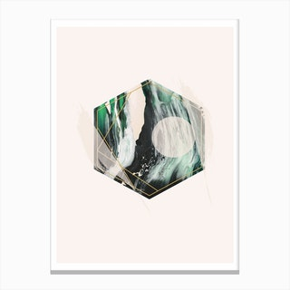 Green and Beige Geometric Hex Canvas Print