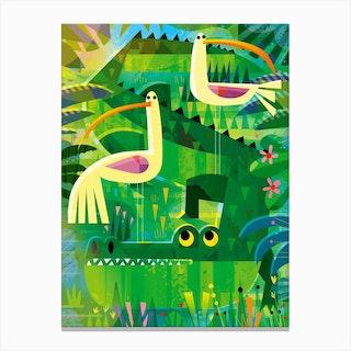 Croc With Pesky Birds Canvas Print
