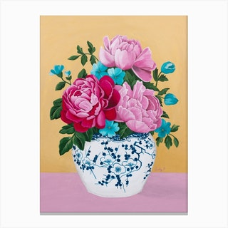 Chinoiserie Vase And Peony Canvas Print