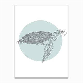 Marine Circle & Turtle Canvas Print